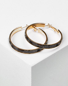 Utopia Tortoise Shell Hoop Earrings Grey