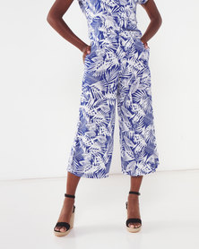 Utopia Leaf Print Viscose Wide Leg Trousers Blue