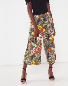 Utopia Tropical Print Viscose Wide Leg Trousers Olive