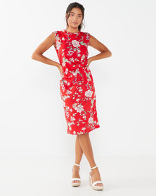Utopia Floral Draped Knit Dress  Red