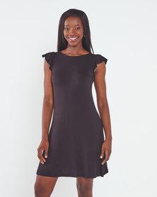 Utopia Stripe Ruffle Sleeve A-Line Dress Black