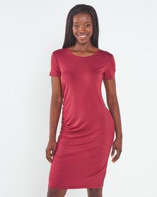 Utopia Knit Tunic Dress with Ruching Brick
