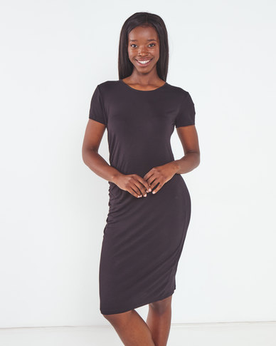 Utopia Knit Tunic Dress with Ruching Black