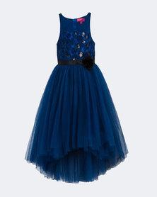 Starlight Kids  Hi - Low Flower Girls Dress Blue