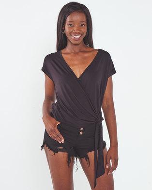 Utopia Wrap Knit Top Black