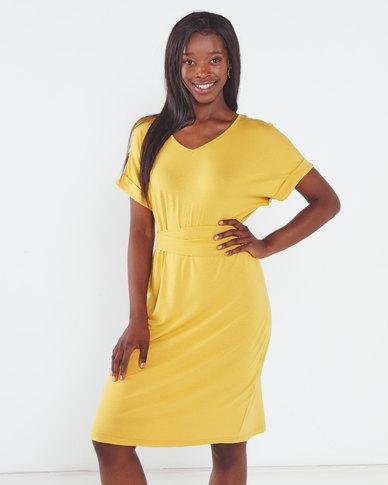 Utopia Knit Tunic Dress with Belt Mustard