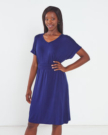 Utopia Knit Tunic Dress with Belt Navy