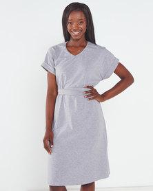 Utopia Knit Tunic Dress with Belt Grey Melange