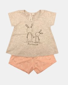 Cotton Club Kids Bunny Girls summer Pyjama Set