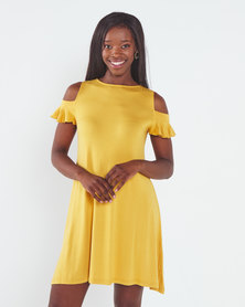 Utopia Cold Shoulder A-Line Dress Mustard