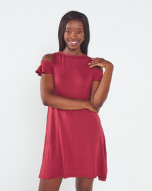 Utopia Cold Shoulder A-Line Dress Brick