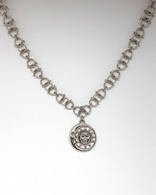 Apparition Sun & Moon Charm Chainmaille Necklace - Silver-Tone