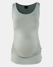 Cherry Melon Tank Top With Side Detail Sage