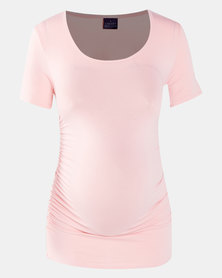 Cherry Melon Round Neck Top With Side Detail Blush