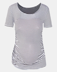 Cherry Melon Stripe Round Neck Top With Side Detail White/Black