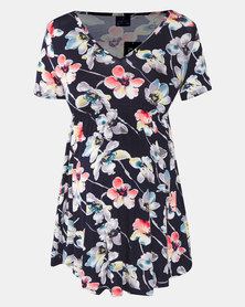 Cherry Melon Floral Bright Print Underbust Smock Detail Top Multi