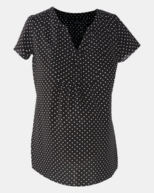 Cherry Melon Spot Henley Shirt Black/White