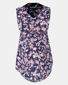 Cherry Melon Abstract Floral  Woven Sleeveless Top Blue