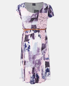 Cherry Melon Abstract Print Belted Scoop Neck Dress Pink