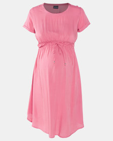 Cherry Melon Woven T-Shirt Dress Dark Blush