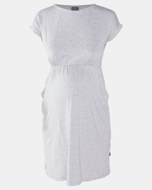 Cherry Melon Front Pocket T-shirt Dress Light Grey