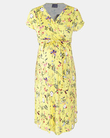 Cherry Melon Floral Midi Mock Wrap Dress Yellow