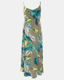 Cherry Melon Evergreen Fern Print New Maxi Dress Multi