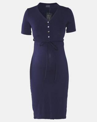 Cherry Melon Button Front Jersey Dress With Tie Navy