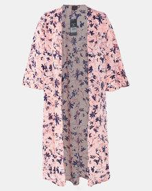 Cherry Melon Abstract Floral Blush Long Kimono Pink