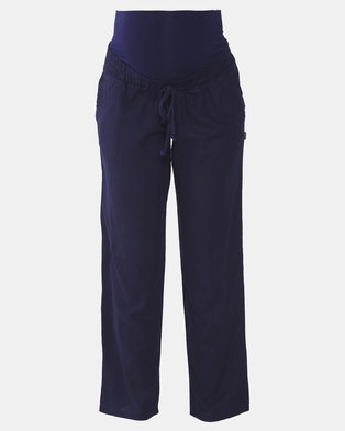 Cherry Melon Casual Linen Pants Navy