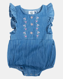 Home Grown Washed Denim Vintage Romper Blue