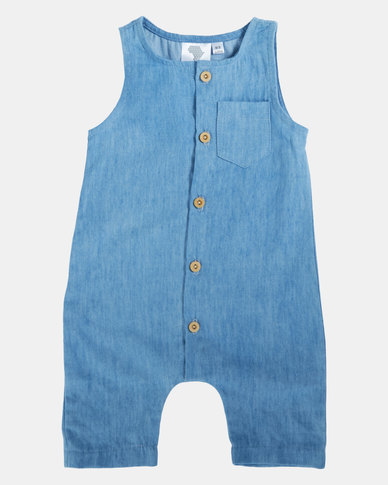 Home Grown Washed Denim Harem Romper Blue