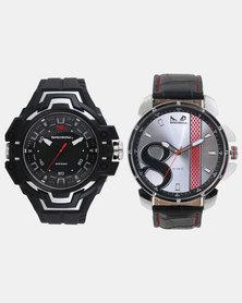 Bad Boy Gents Resin & Leatherette Watch Set Black