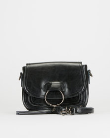 BELLINI Leather Tasseled Crossbody Bag Black