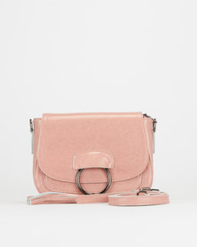 BELLINI Leather Tasseled Crossbody Bag Pink