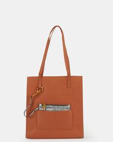 BELLINI Leather Tote Bag Tan