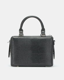 BELLINI Leather Faux Croc Crossbody Bag Black