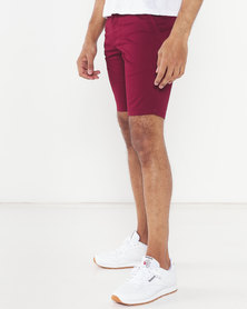Soviet Ballotelli Chino Shorts Burgundy