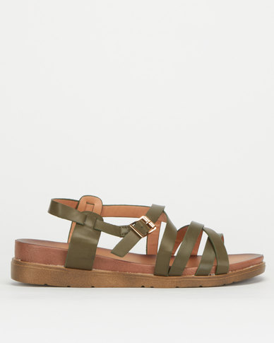 Utopia Strappy Chunky Sandals Olive