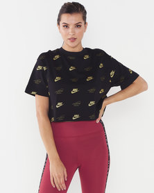 Nike W NSW Short Sleeve Crop Top BFF Shine/Black