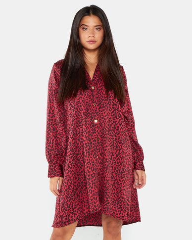 Gee Love It Leopard Button up swing Dress Red