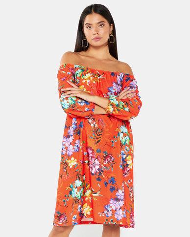 Gee Love It Bardot Dress Floral Tangerine