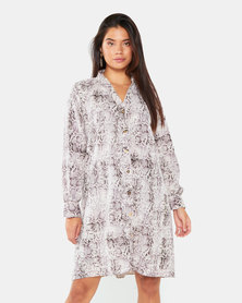 Gee Love It Snake Button up swing Dress Grey