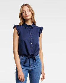 Zoe Frill Sleeve Tie Front Shirt