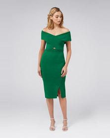Luna Cross Front Bardot Knit Dress Green
