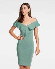 Sharna Frill Bardot Knit Dress Green