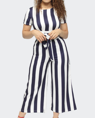 Style by L Strip Jumpsuit Navy
