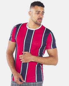Brave Soul Vertical Stripe T-Shirt Navy/Red