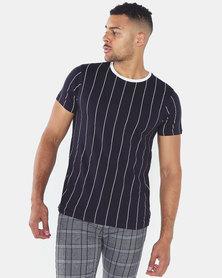 Brave Soul Fine Vertical Stripe T-Shirt Navy