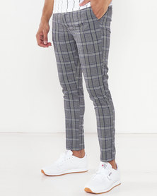 Brave Soul Check Trousers Grey